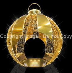 Gold and white walk thru ornament with LED rope light