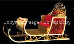 3-D sleigh with red accents and gold inlays