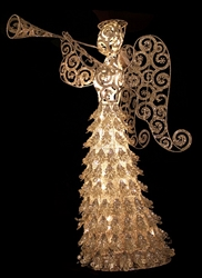 "34"" Gold angel with trumpet"