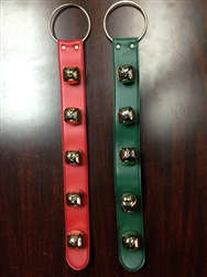 "20"" Leather Sleigh Bell Straps with Gold Metal Loops"