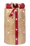 "24"" Gold Round LED Gift Box Christmas Decoration"