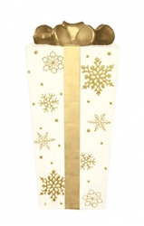 "31"" Giant White-and-Gold Gift Light-Up Box Ornament"