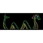Animated Sea Serpent with Santa Hat and LED Bulbs
