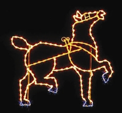 7' Silhouette Victorian Horse with Head raised with LED Bulbs