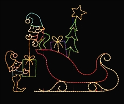 Ground mount 18' Elves and Sleigh with tree and Packages