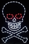 Halloween Skull & Crossbones with LED bulbs wall mount