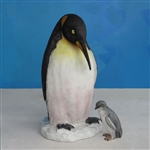 large fiberglass penguin and 12' baby penguin