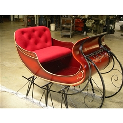 Giant Santa Sleigh Deluxe with velvet cushions and scene on back