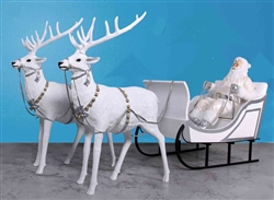 large Snow Santa sleigh and 2 reindeer