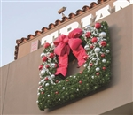 Wall mount or building mount square wreaths with LED lights and bows