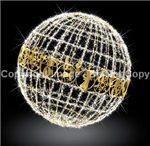 Lighted giant ball with LED mini lights and strip lights