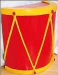 half drum in red and yellow