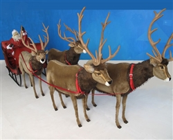Giant fabric Reindeer with Sleigh and Santa
