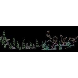 23' X 97' Silhouette Animated Eagles Domain Scene with LED Bulbs.