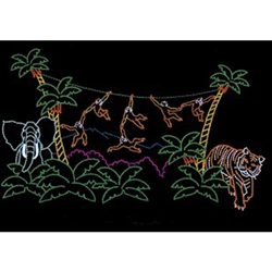 "26"" x 45' Pre-Lit Animated Monkey Jungle Christmas Display"