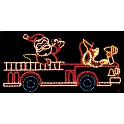 LED Animated Santa's firetruck 9' X 19' or 11' X 24'
