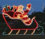 Animated Santa Sleigh with Presents and Reindeer team with LED Bulbs