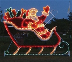 87' Animated Santa Sleigh with Presents and Reindeer team with LED Bulbs