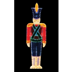 Standing Toy Soldier with garland and LED Bulbs