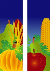 Double design fall fruit corn and pumpkin banner