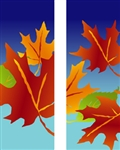 Double design Fall leaves banner on blue background