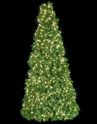 Lighted 8' Half tree for wall or building mount display