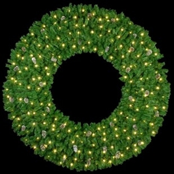 "36"" to 72"" Wall Mount lighted wreath without Bow and mini lights"