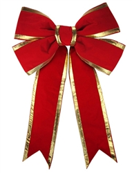 Giant 3D Red Velvet Bow with Gold trim