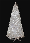 Snowy spruce tree with LED lights