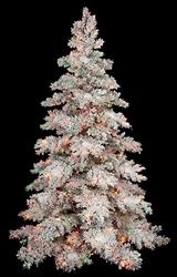Flocked snow tree with LED lights