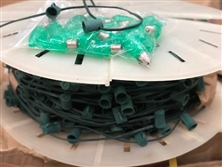 Green Cord set with C9  LED Green bulbs