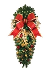 "Decorated 48"" Post Spray with 18"" Bow and 150 LED mini lights, ornaments and pine cones"