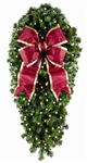 "48"" Natural Spray with 18"" Burgundy Bow and 150 warm white LED Bulbs"
