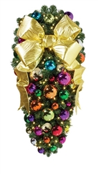 "Decorated 48"" Royal center mount spray with warm white LED mini lights and 18"" Gold Bow"