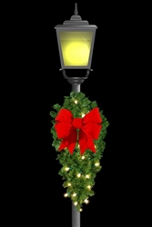 "Lighted 48"" Center Mount Post Spray with C7 standard bulbs and 18"" 3D Velvet Bow"