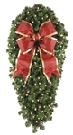 "Natural 36"" Center Mount Spray with 150 LED mini lights and 15"" Red Nylon Bow"