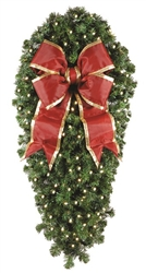 "Natural 48"" Center Mount Spray with 150 LED mini lights and 18"" Red Nylon Bow with Gold trim"