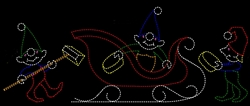 "20' x 12' ""Elves Washing Santa's Sleigh"" Animated Christmas Display"