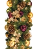 10' Traditional Garland with lights and ornaments