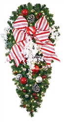 candy Cane spray with ornaments