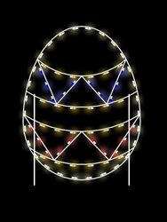 Ground Mount 5' Silhouette Easter Egg with two zigzag stripes