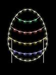 Ground Mount Easter Egg with four stripes with C7 LED Bulbs