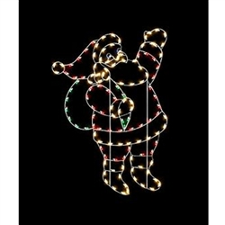 8' Silhouette waving Santa with standard or LED Bulbs