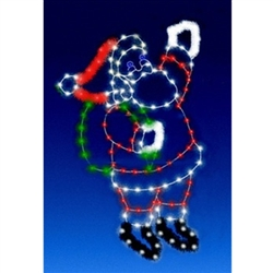 8' Ground Mount Enhanced Waving Santa