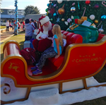 Red and Gold Santa's Sleigh with giant Toy Bog