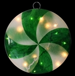 "12.2"" Illuminated Peppermint Round Candy Ornaments"