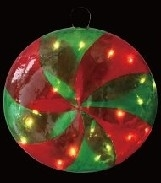 "12.2"" Illuminated Incandescent Peppermint Round Candy Ornament"