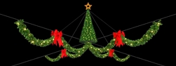 Lighted Garland and Tree Intersection Display