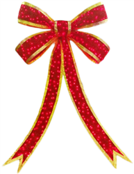 giant bow with gold trim lighted