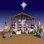 Fiberglass nativity with stable and 15 pieces